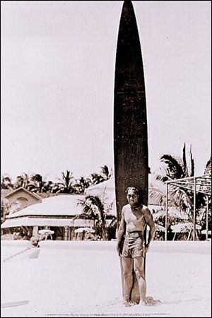 Duke Paoa Kahinu Mokoe Hulikohola Kahanamoku (8/24/1890; Honolulu, HI – 1/22/1968) was an American competition swimmer who was also known as an actor, lawman, early beach volleyball player and businessman credited with spreading the sport of surfing. Kahanamoku was a 5-time Olympic medalist in swimming.