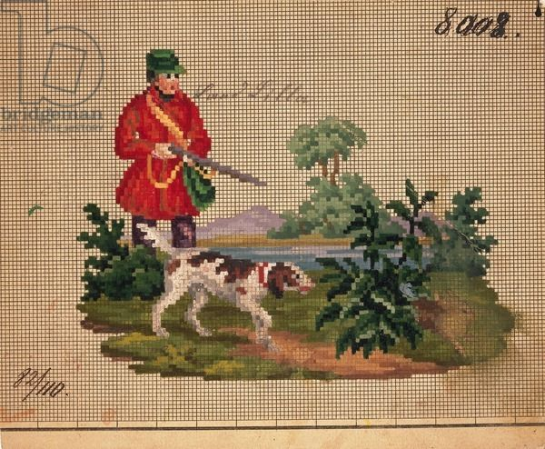 Hunter with dog embroidery design, 19th century