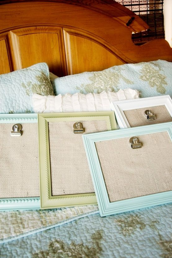 Cheap and easy! Painted, vintage looking frames with burlap backs and clips so you can easily change out the pictures.