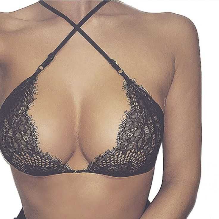 2017Hot Sexy Translucent Lace Bra Women Front Cross Buckle Blackless Ultrathin Underwear Sheer Lingerie Bra Black Tank Plus Size