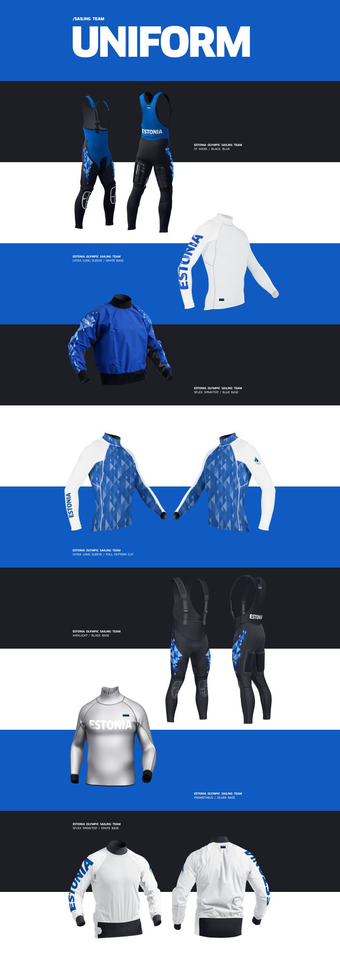 Estonia's flag and Nordic folk heritage was the inspiration for the new identity of Estonia's sailing costumes for the 2016 Rio Summer Olympics. See full case study: http://work.antonandirene.com/estoniaolympic