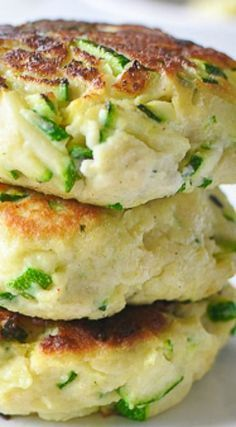 Zucchini Ricotta Fritters use pork rines instead of bread crumbs