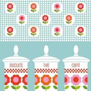"""Carte carrée Milgrim """"Biscuits, thé, café"""""""