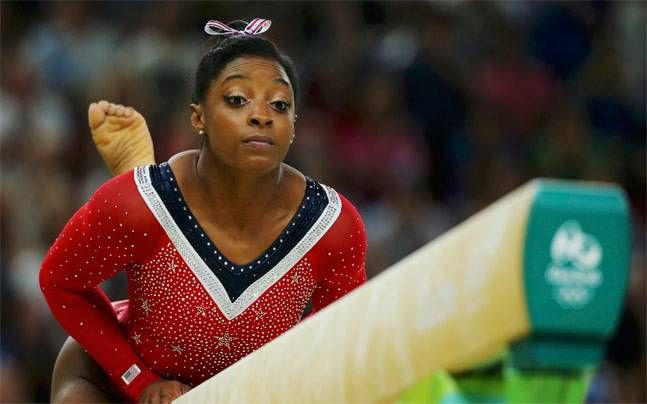 Biles had been favorite to win her fourth gold medal of the Rio Games but drew gasps as she lost her balance during the event on Tuesday.