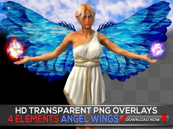 Angel Wings TRANSPARENT PNG Photoshop Overlays + BONUS Dark Wings - Earth, Water, Air, Fire Wings, Digital Background, Digital Backdrop