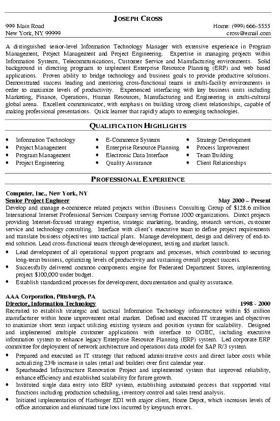 IT Manager Resume Samples | Sample Resumes