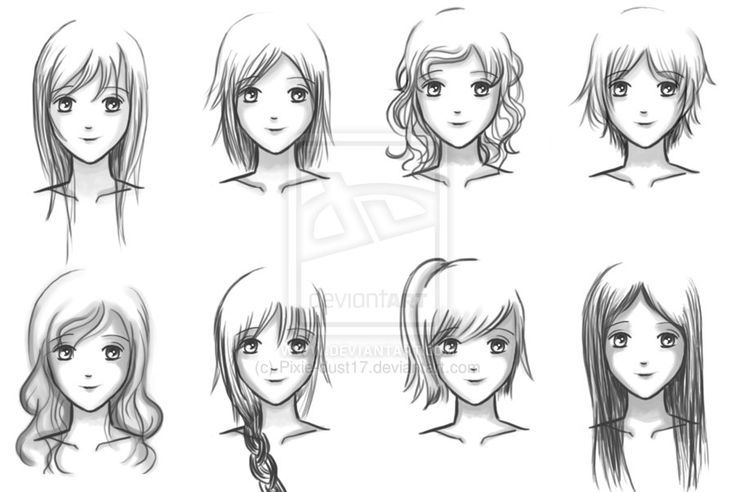 anime how to draw girl hair style - Google Search