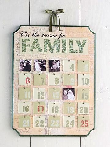 advent calendar made with family Christmas photos