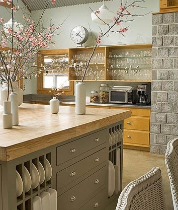 Beautiful Kitchen...love the Butcher block top on the Kitchen Island & the open shelving storage on the Island & on the upper cabinets.