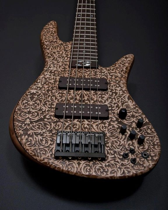 Fodera Emperor 5 Bolt-on Bass With A Laser Engraved Top