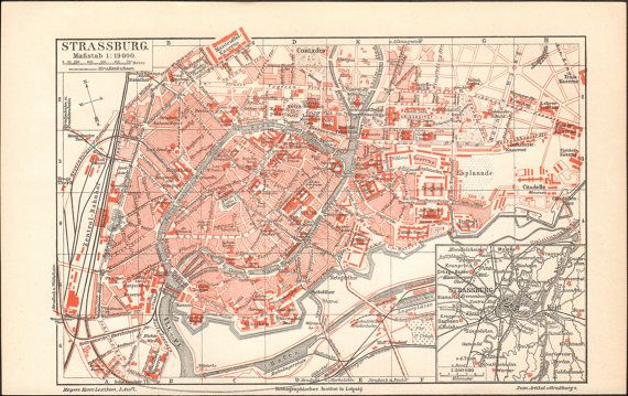 1897 Strasbourg City Map Antique Print at KuriosartAntique on Etsy