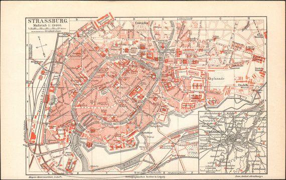 1897 Strasbourg City Map Antique Print at KuriosartAntique on Etsy