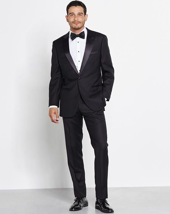 Black peaked lapel tuxedo with one button | The Black Tux  | https://www.theknot.com/fashion/peaked-lapel-tuxedo-the-black-tux-tuxedo