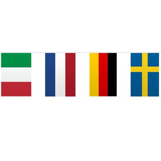 Vlaggetjeslijn Europa 10 meter  Vlaggenlijn Europa 10 meter. Deze vlaggenlijn bevat 10 vlaggen van Europa en is gemaakt van plastic. Dit gaat om de volgende 10 landen: Verenigd Koninkrijk Frankrijk Italie Spanje Nederland Duitsland Zweden Oostenrijk Denemarken Griekenland. De vlaggenlijn heeft een totale lengte van ongeveer 10 meter.  EUR 3.50  Meer informatie