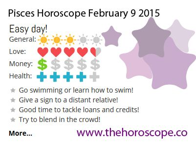 Easy day for #Pisces on Feb 9th #horoscope ... http://www.thehoroscope.co/horoscope/Pisces-Horoscope-today-February-9-2015-2186.html