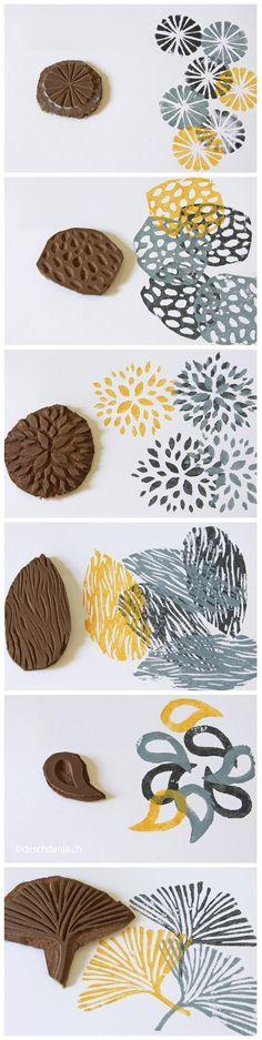 Fabriquer des tampons avec des lames de parquets self made stamps and their prints