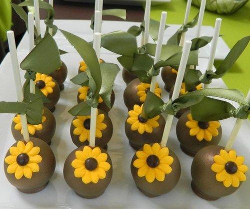 12 sunflower wedding bridal shower birthday favor cake pops autumnlynnssins edibles on artfire 32 artfire autumn lynns sins pinterest wedding