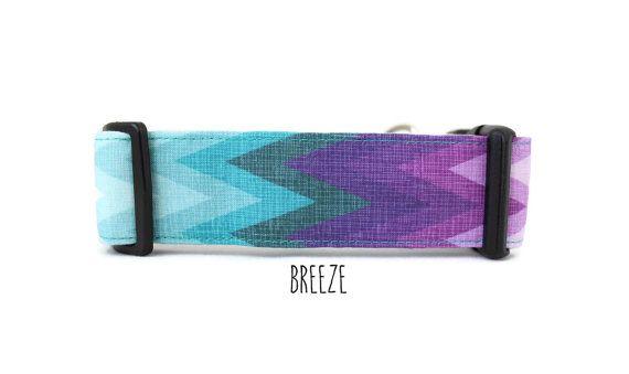 Dog Collar, Girl Dog Collar, Chevron Dog Collar, Purple Dog Collar, Teal Dog Collar, Ombre Collar (Upgrade to Metal Buckle or Martingale)
