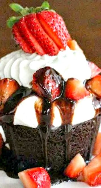 Strawberry Shortcake Brownie Cupcakes Recipe ~ simple ingredients and no-fuss preparation.