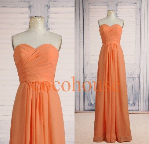 New Orange Long Bridesmaid Dresses Simple Prom by cocohouse