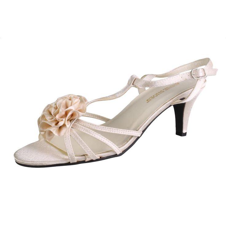 Angie Womens Angelina Satin Dress T-Strap Sandals