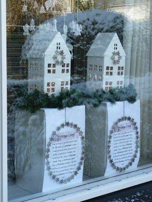 White cardboard house window display...Lovely.