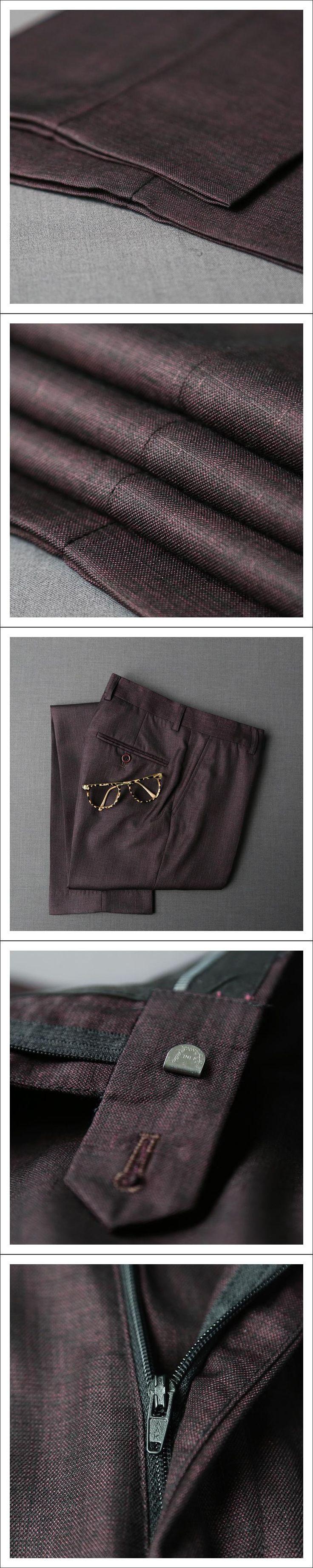 2017 Formal Wedding Men Purple Suit Pants Fashion Slim Fit Casual Brand Business Blazer Straight Dress Trousers 365kz02