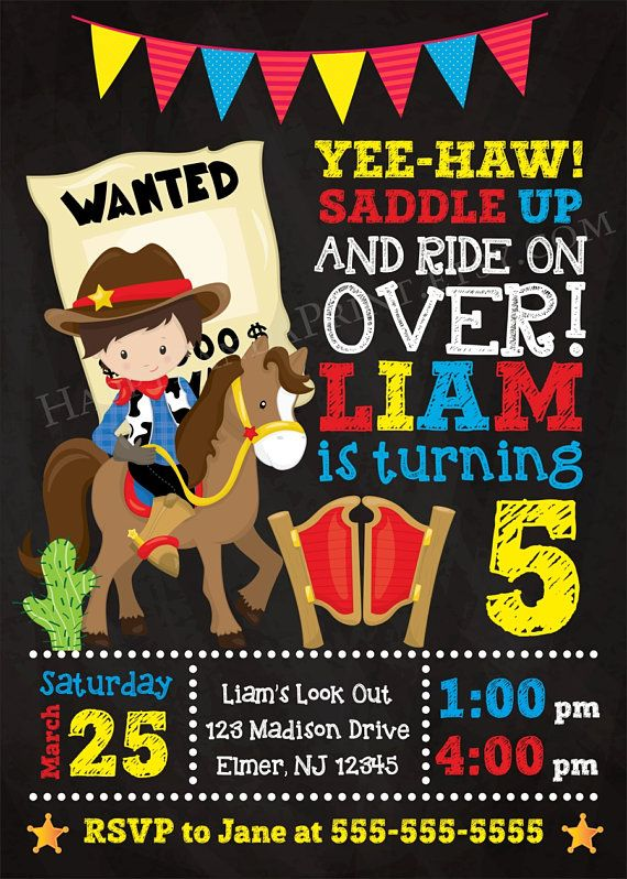 Cowboy Birthday Party Invitation / Boy Western Party Invite --------------------------------------------------------------------------------- Welcome to Happy Panda Print shop! Please read below for ordering instructions or see the FAQ section at the bottom of the page for helpful information! ★ THIS IS A DIGITAL FILE ONLY! No physical items will be shipped to your address! ★ I customize the design for you, then email a print ready file to your email ★ All information including color, ...