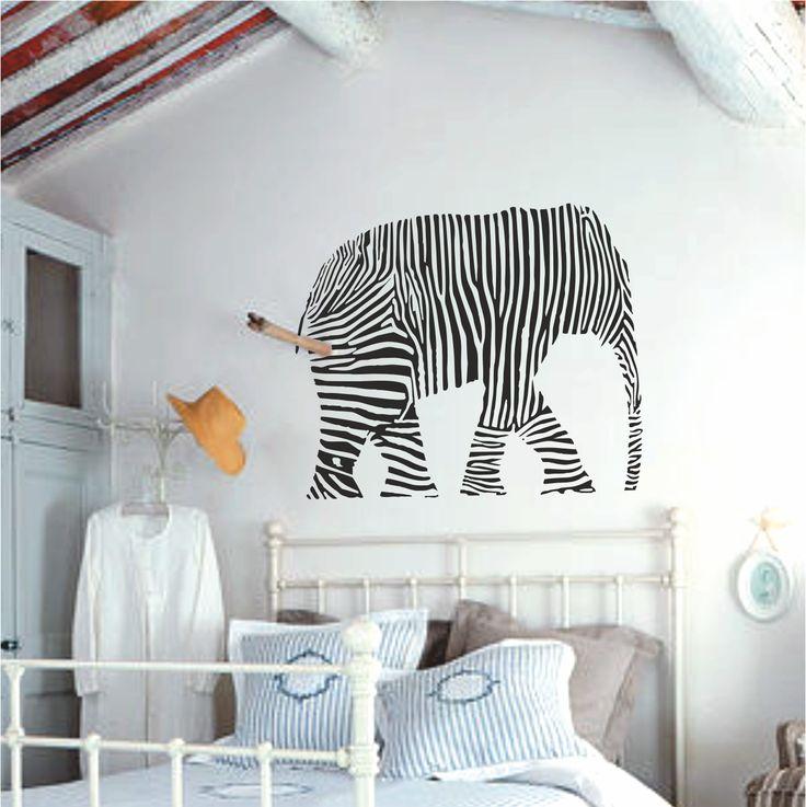 Vinilo decorativo cabecero de cama elefante cebra.