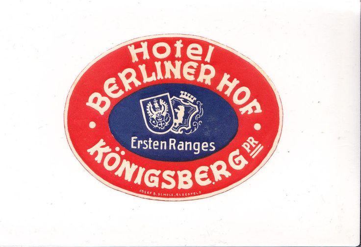 Kofferaufkleber, Hotel Berliner Hof, Königsberg, Preussen