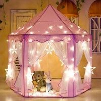 Wish | KEPEAK Kids Play Tent Pink Hexagon Princess Castle Playhouse for Girls Children Play Tent With LED Lights Indoor and Outdoor