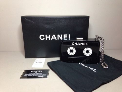 VERY RARE COLLECTIBLE CHANEL 2004 BLACK LUCITE MUSIC CASSETTE TAPE CLUTCH BAG