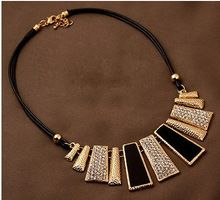 New Arrival Fashion Jewelry Trendy Women Necklaces & Pendants Rope Chain Statement Necklace rectangle Pendant For Gift 465(China (Mainland))