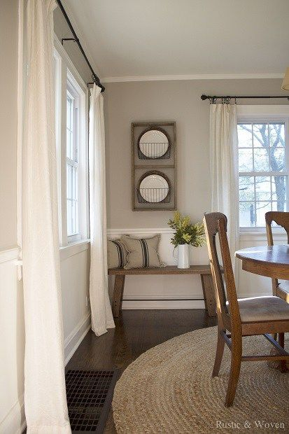 The top portion of the wall is London Fog and the bottom is Simply White – both by Benjamin Moore.