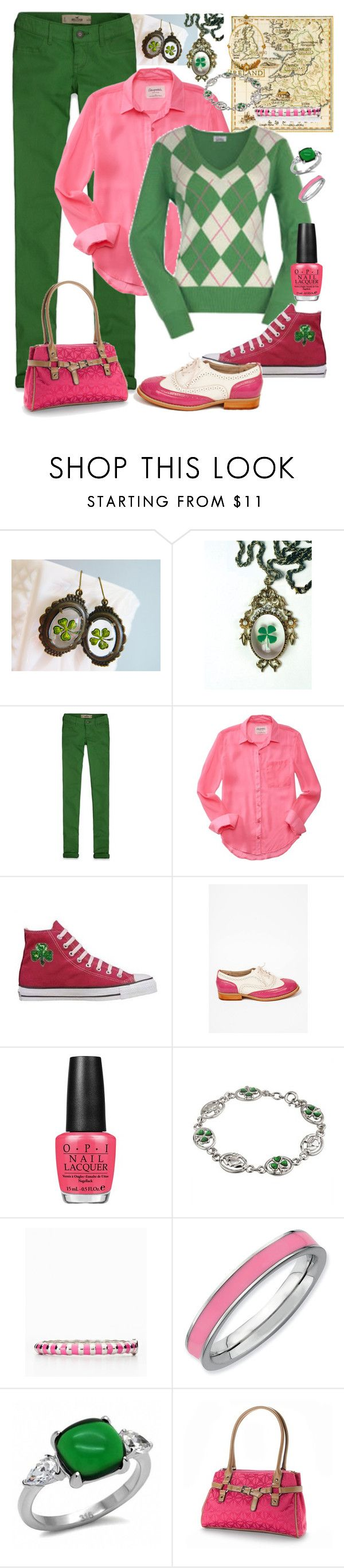 """""""Pink & Green Irish Preppy"""" by teri-vanselous ❤ liked on Polyvore featuring CO, Hollister Co., Aéropostale, Converse, OPI, Ann Taylor, Expressions, Fantasy Jewelry Box and Croft & Barrow"""