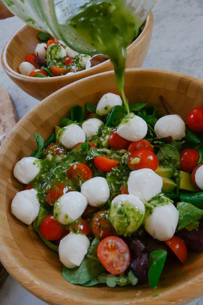 Caprese Salad with Pesto Dressing - The Londoner