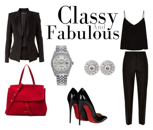 Classy and Fabulous by ana-maria-utea on Polyvore featuring Raey, Alexandre Vauthier, Jaeger, Christian Louboutin, Mansur Gavriel, Rolex and Tiffany & Co.