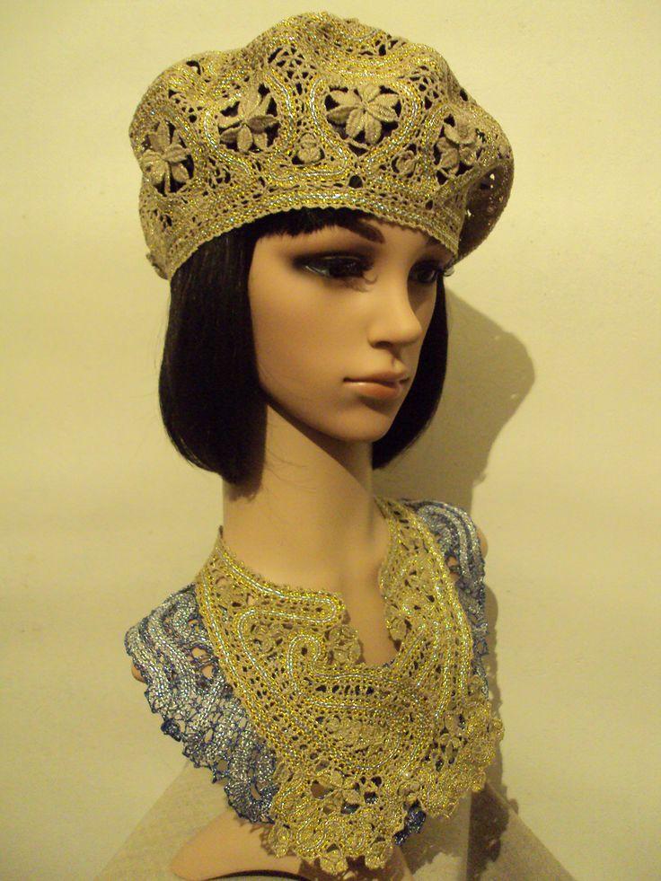 Larisa Ten. Beret. 2016. The collars. 2013. Quick coupler the weaving. Linen, Lurex, silver cord, gold thread (3 strands) ... Brooch. Houses, Tashkent, Uzbekistan ...