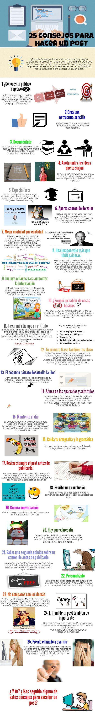 Hola: Una infografía con 25 consejos para hacer un post. Vía Un saludo