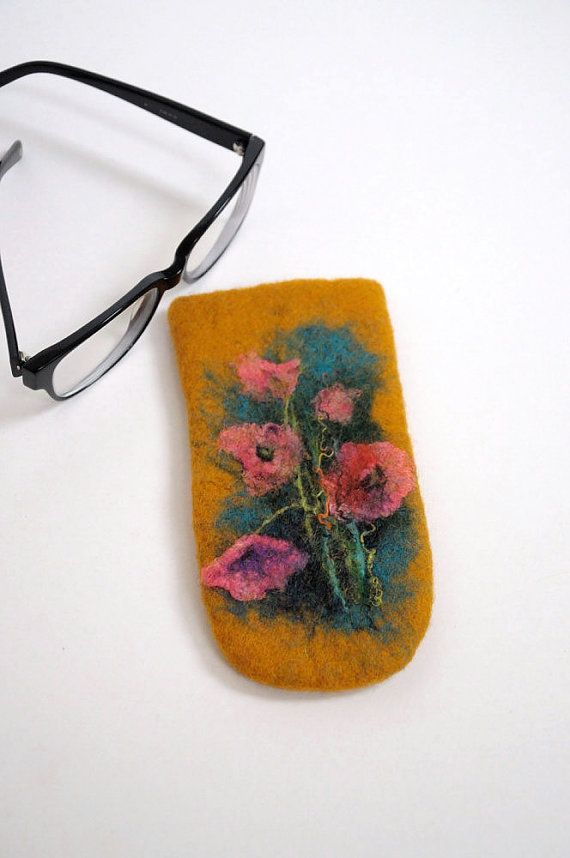 Felted Eyeglass Case - poppies