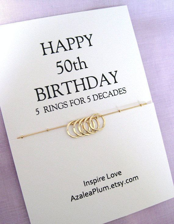 50th Birthday Gift For Women Sister Necklace Friend GOLD Eternity Circle Her