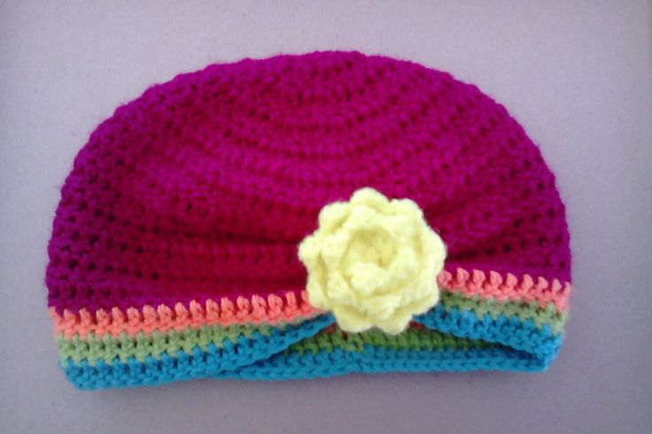 Crochet side turban with rose