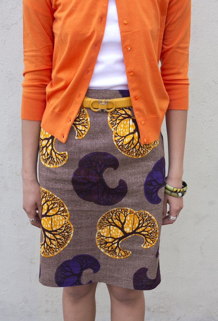 Printed Pencil Skirt, belt, and cardigan