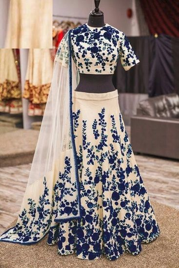 NEW Bhagalpuri SUMMER Party, Reception, Wedding and festivals BLUE COLOR LAHNGA ONLY - Zamkudi Lehengas for woman