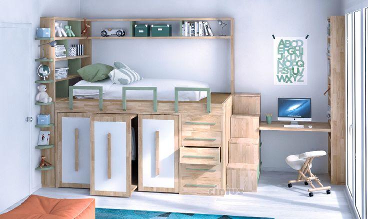 Bed impero-Young per cameretta di bambini e ragazzi, salvaspazio contenitore, in…