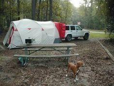 Here's our Jeep tent. It will attach to the back of the Wrangler.