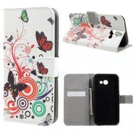 Samsung Galaxy A5 2017 värikkäät perhoset puhelinlompakko.