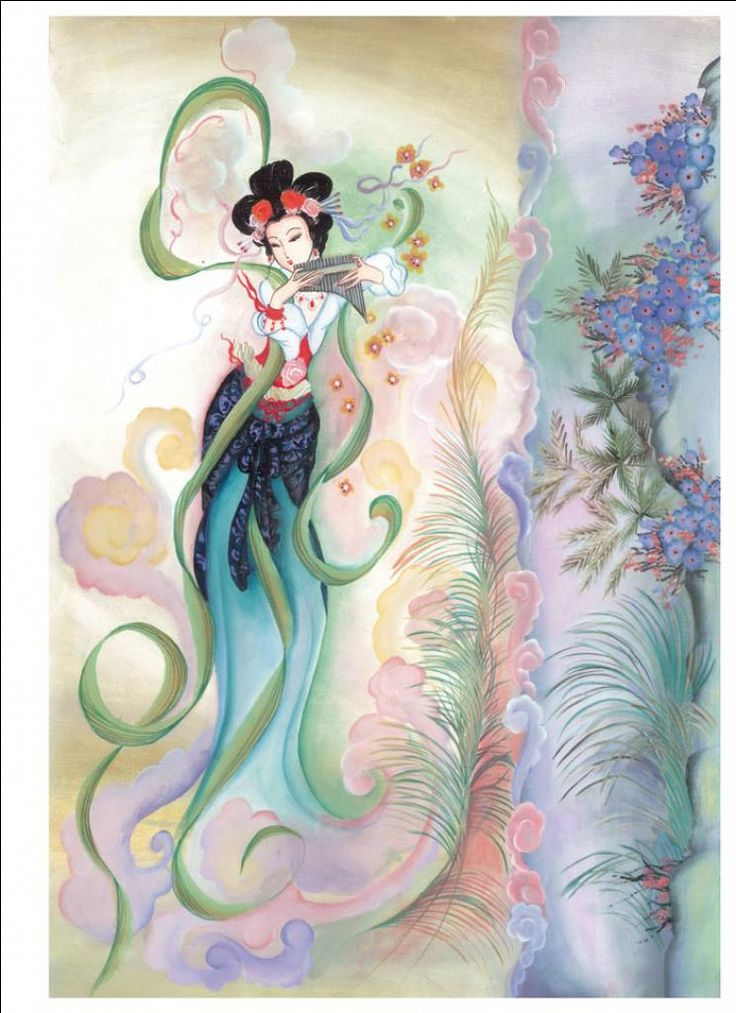 Geisha girl rice paper playing pan pipes
