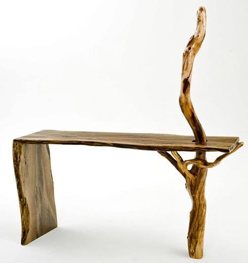 Natural Wood Furniture - Sofa Table - Walnut with Manzanita Branch