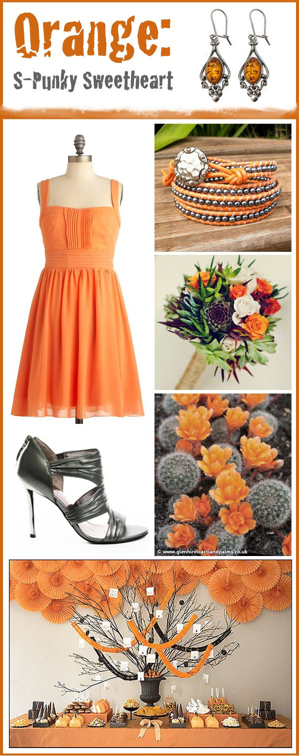 """""""bright orange for your wedding"""" I had a bad reaction to orange about 1978.  Suddenly I like it again in 2012.  Repinned from  the Pinterest Board  of the site the content is posted (The Art of Weddings)"""
